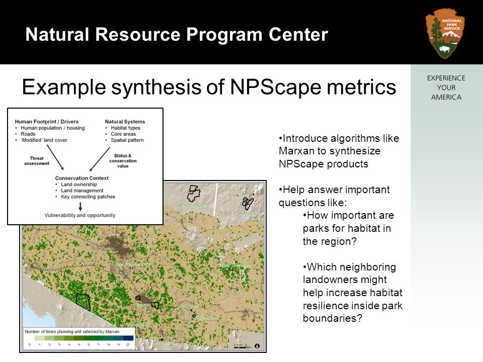 18 Natural Resource Program Center Example synthesis of NPScape metrics Introduce algorithms like Marxan to synthesize NPScape products Help answer important questions like: How important are parks for habitat in the region.