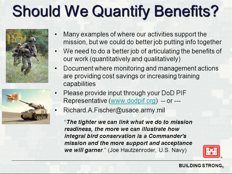 Should We Quantify Benefits.