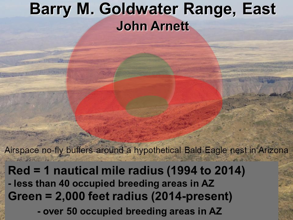 US Army Corps of Engineers BUILDING STRONG ® Red = 1 nautical mile radius (1994 to 2014) - less than 40 occupied breeding areas in AZ Green = 2,000 feet radius (2014-present) - over 50 occupied breeding areas in AZ Airspace no-fly buffers around a hypothetical Bald Eagle nest in Arizona Barry M.