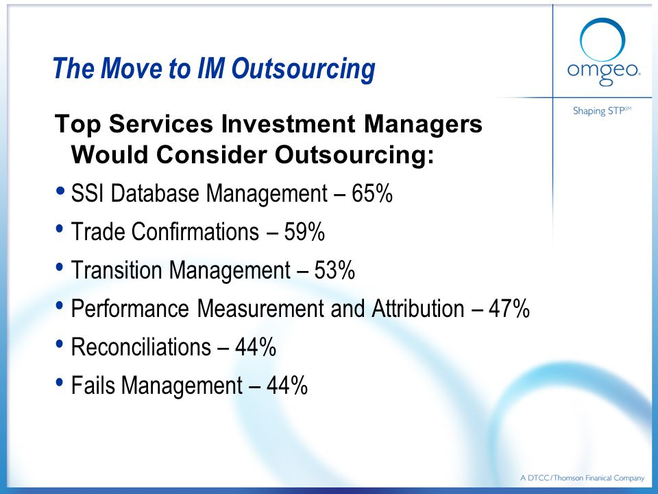The Move to IM Outsourcing Top Services Investment Managers Would Consider Outsourcing: SSI Database Management – 65% Trade Confirmations – 59% Transition Management – 53% Performance Measurement and Attribution – 47% Reconciliations – 44% Fails Management – 44%