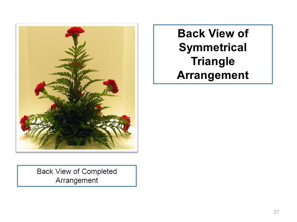 27 Back View of Symmetrical Triangle Arrangement Back View of Completed Arrangement