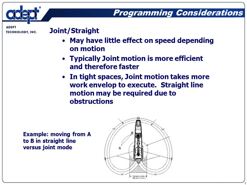 8 Programming Considerations Joint/Straight May have little effect on speed depending on motion Typically Joint motion is more efficient and therefore faster In tight spaces, Joint motion takes more work envelop to execute.