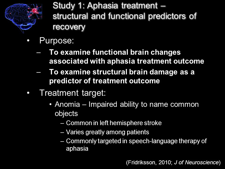 Participants & Aphasia Treatment –N = 26 – left hemisphere, chronic stroke –Single event stroke –Time post-stroke: At least 8 months Behavioral aphasia treatment –Administered by a speech pathologist 3 consecutive hours/day 5 sessions per week for two weeks Total time in treatment: 30 hours (Fridriksson, 2010; J of Neuroscience)