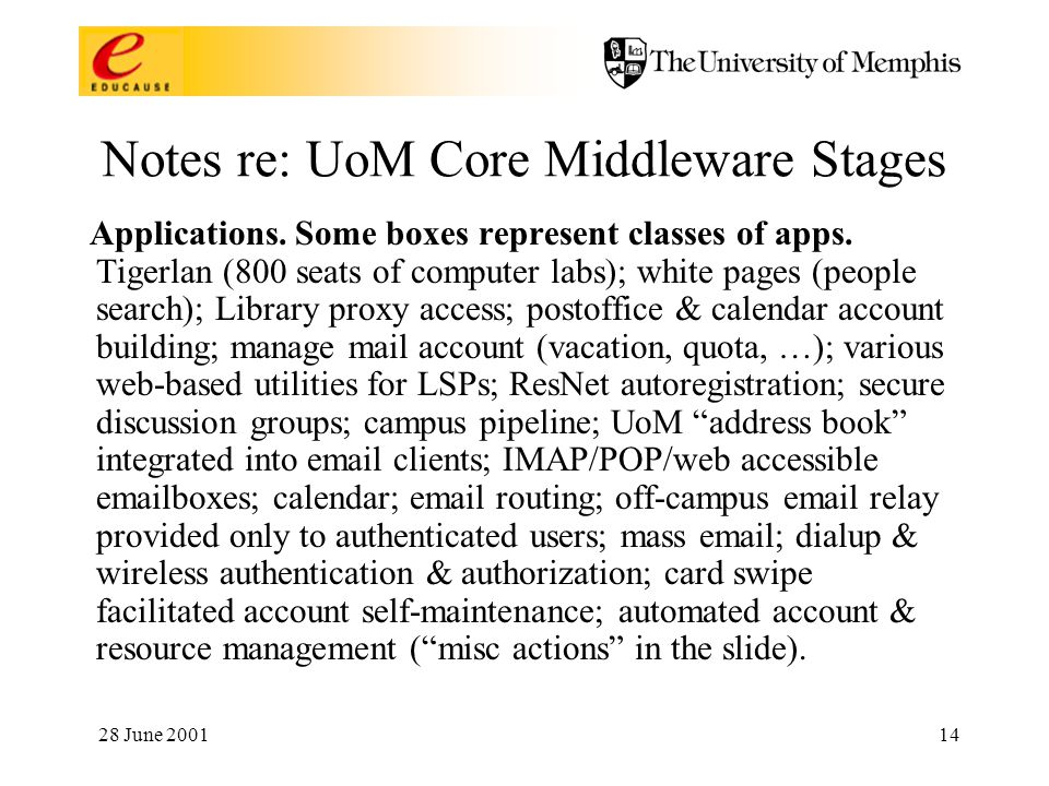 28 June 200114 Notes re: UoM Core Middleware Stages Applications.