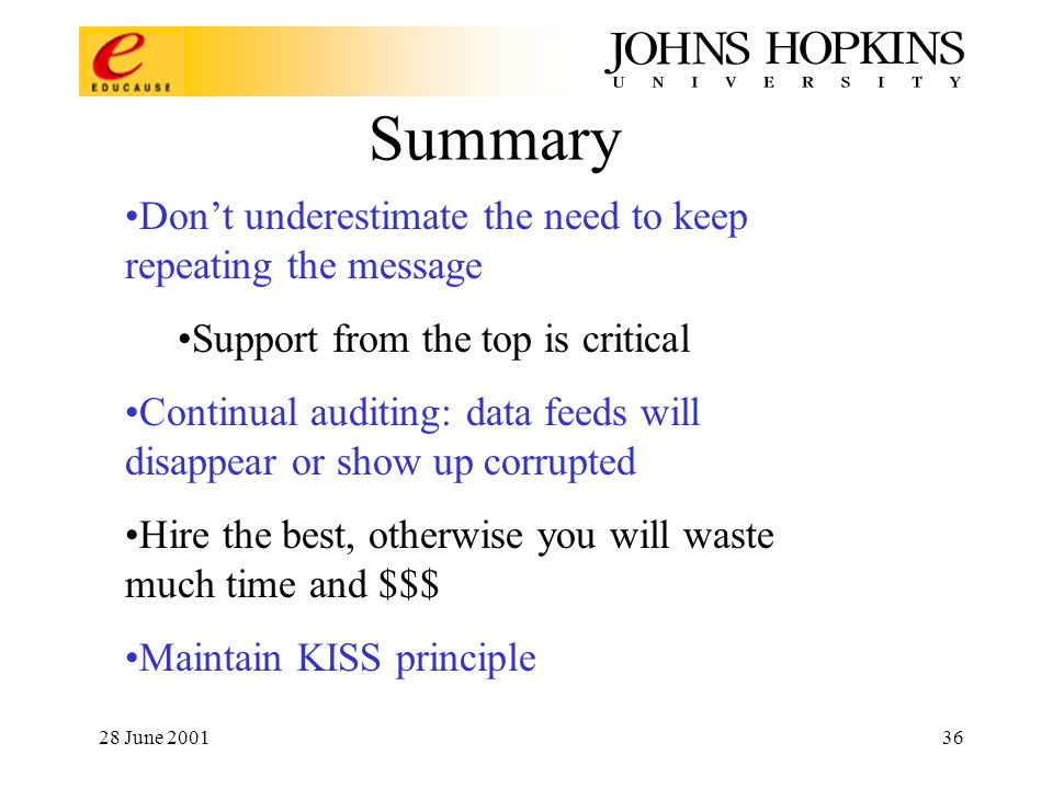28 June 200136 Summary Don't underestimate the need to keep repeating the message Support from the top is critical Continual auditing: data feeds will disappear or show up corrupted Hire the best, otherwise you will waste much time and $$$ Maintain KISS principle