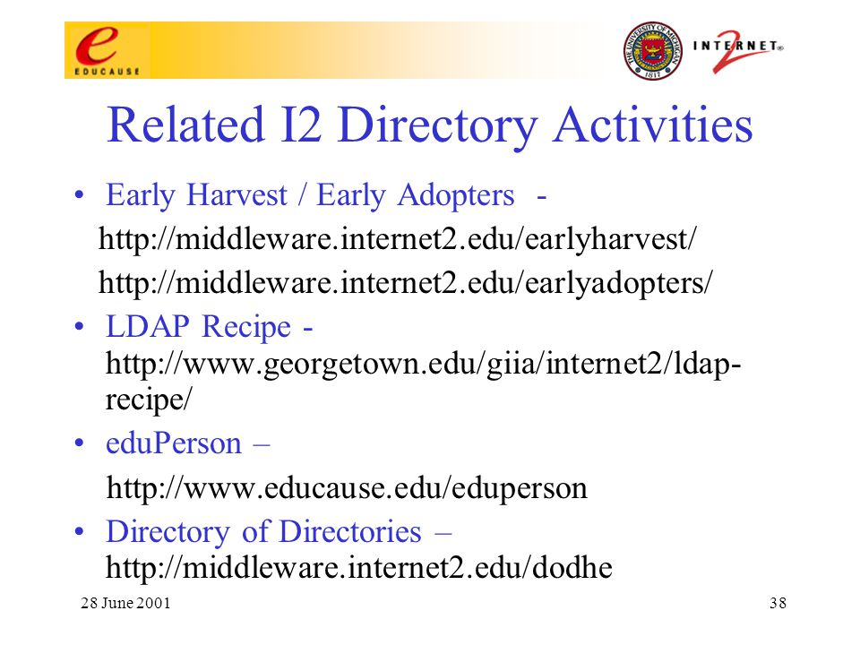 28 June 200138 Related I2 Directory Activities Early Harvest / Early Adopters - http://middleware.internet2.edu/earlyharvest/ http://middleware.internet2.edu/earlyadopters/ LDAP Recipe - http://www.georgetown.edu/giia/internet2/ldap- recipe/ eduPerson – http://www.educause.edu/eduperson Directory of Directories – http://middleware.internet2.edu/dodhe