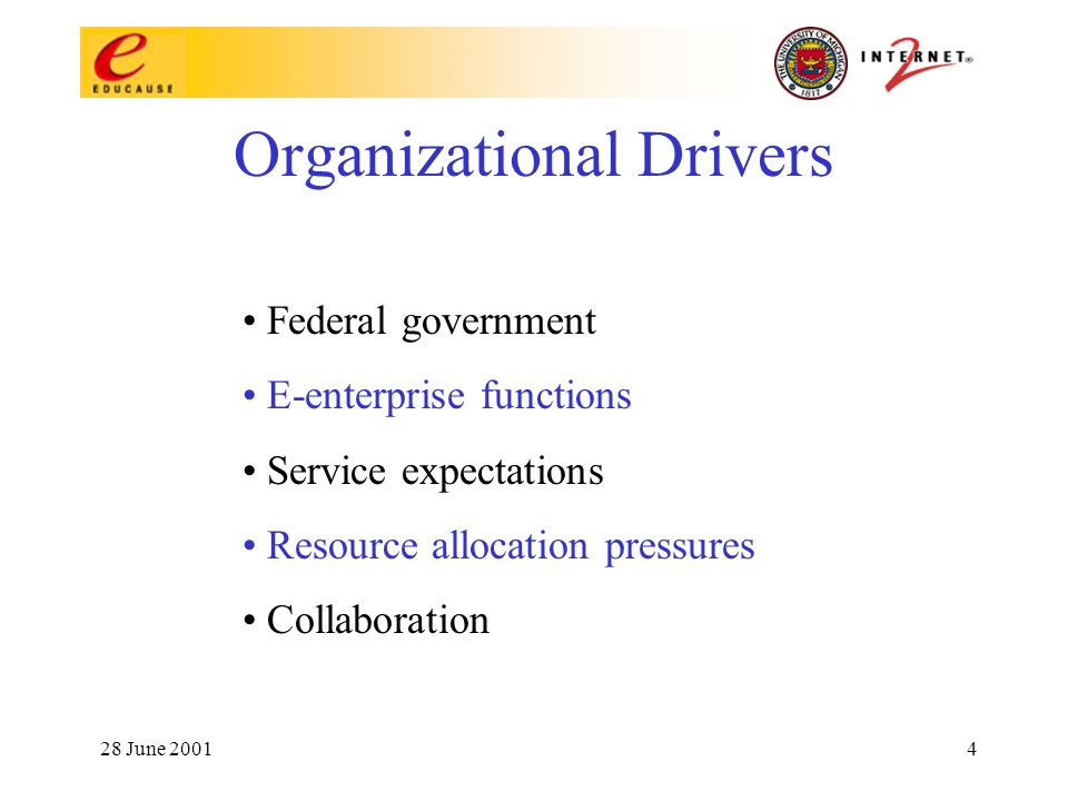 28 June 20014 Organizational Drivers Federal government E-enterprise functions Service expectations Resource allocation pressures Collaboration