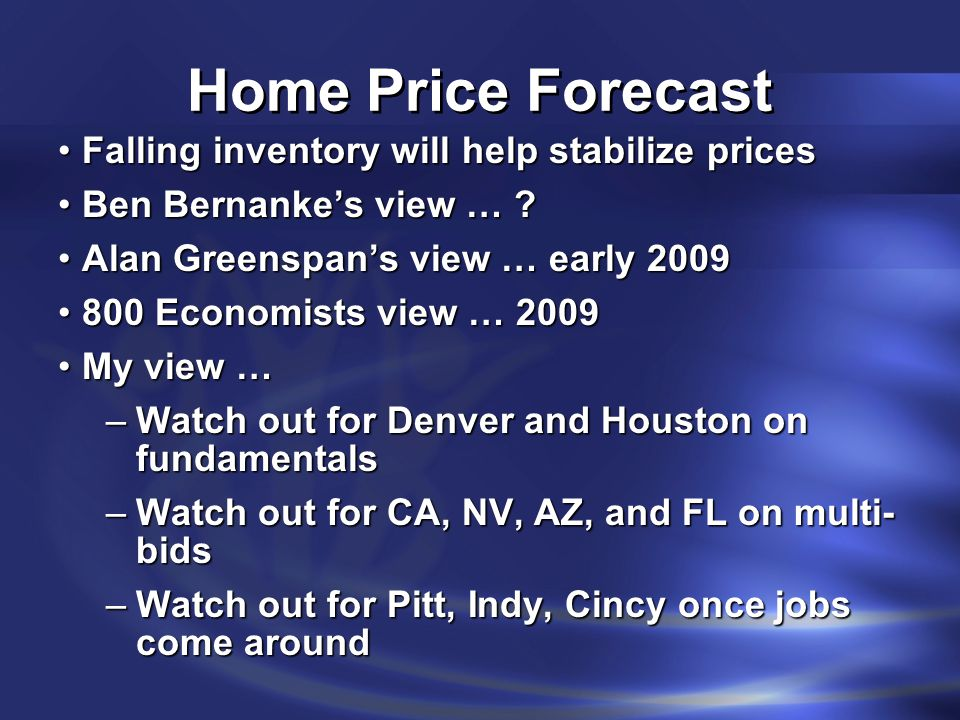 Home Price Forecast Falling inventory will help stabilize pricesFalling inventory will help stabilize prices Ben Bernanke's view … ?Ben Bernanke's vie