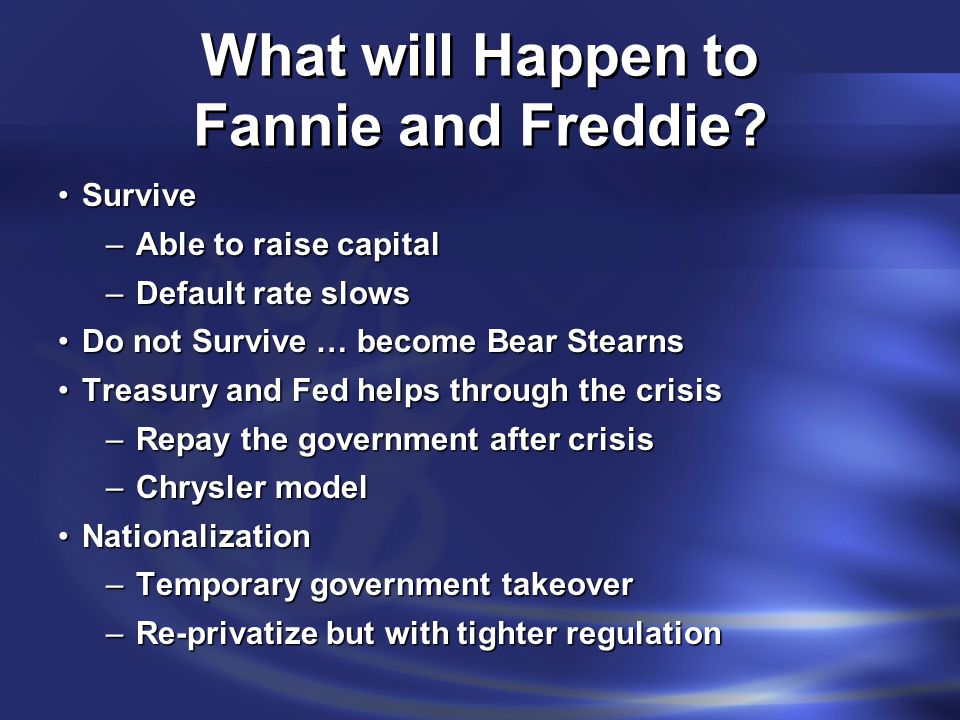 What will Happen to Fannie and Freddie? SurviveSurvive –Able to raise capital –Default rate slows Do not Survive … become Bear StearnsDo not Survive …