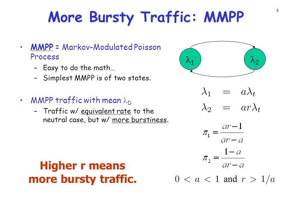 More Bursty Traffic: MMPP MMPP = Markov-Modulated Poisson Process –Easy to do the math… –Simplest MMPP is of two states.