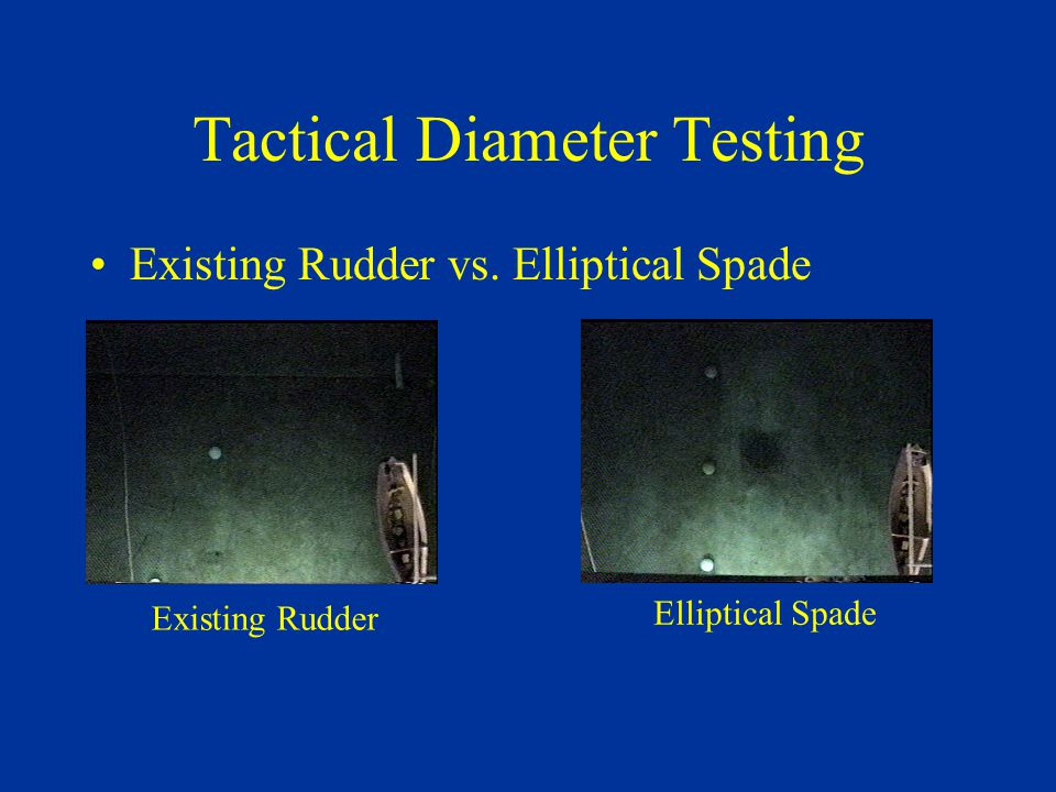 Tactical Diameter Testing Existing Rudder vs. Elliptical Spade Existing Rudder Elliptical Spade