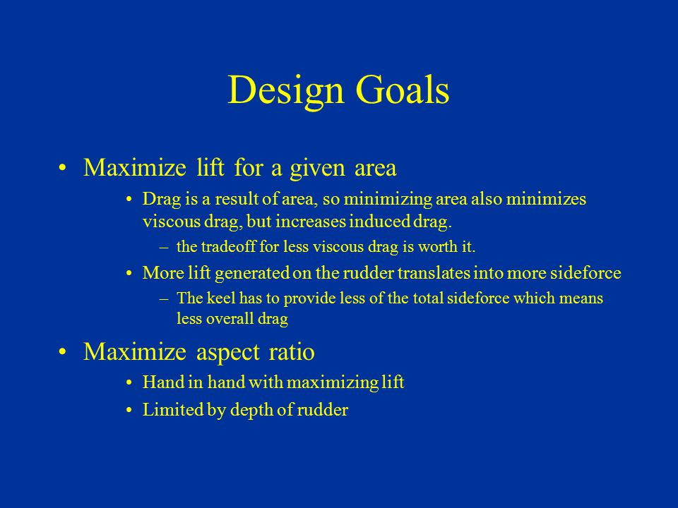 Design Goals Maximize lift for a given area Drag is a result of area, so minimizing area also minimizes viscous drag, but increases induced drag. –the