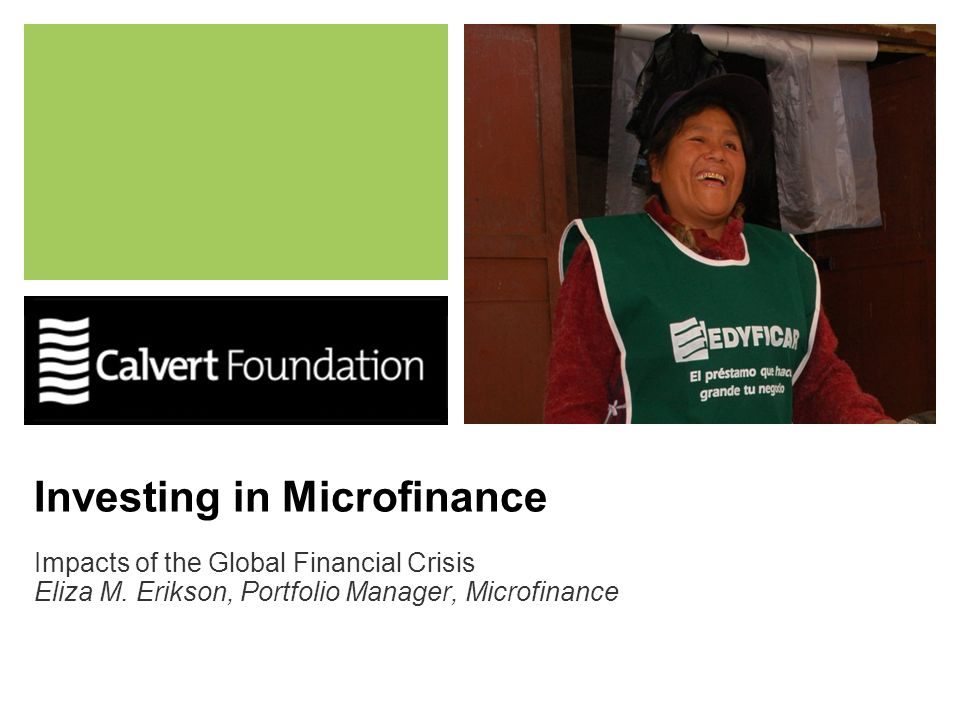 Investing in Microfinance Impacts of the Global Financial Crisis Eliza M. Erikson, Portfolio Manager, Microfinance