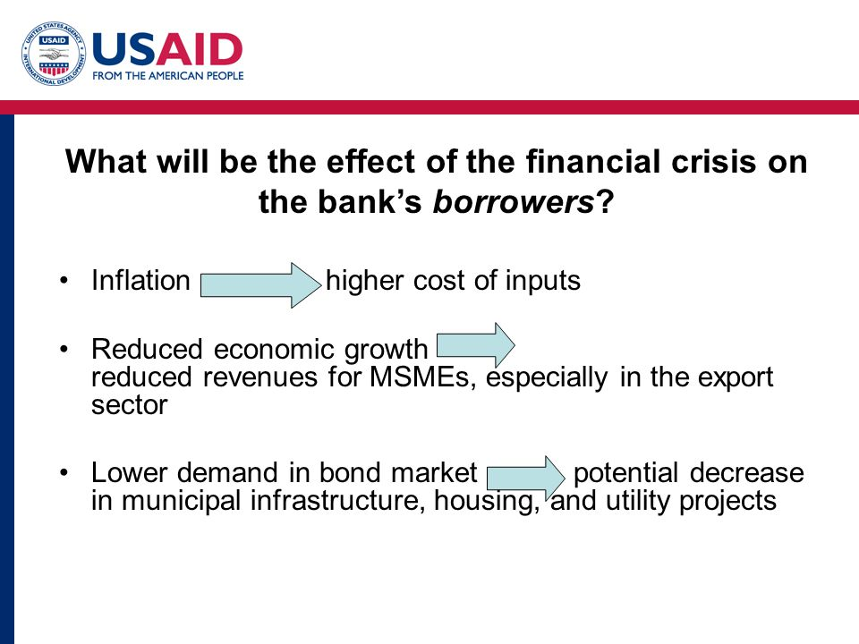 What will be the effect of the financial crisis on the bank's borrowers? Inflation higher cost of inputs Reduced economic growth reduced revenues for