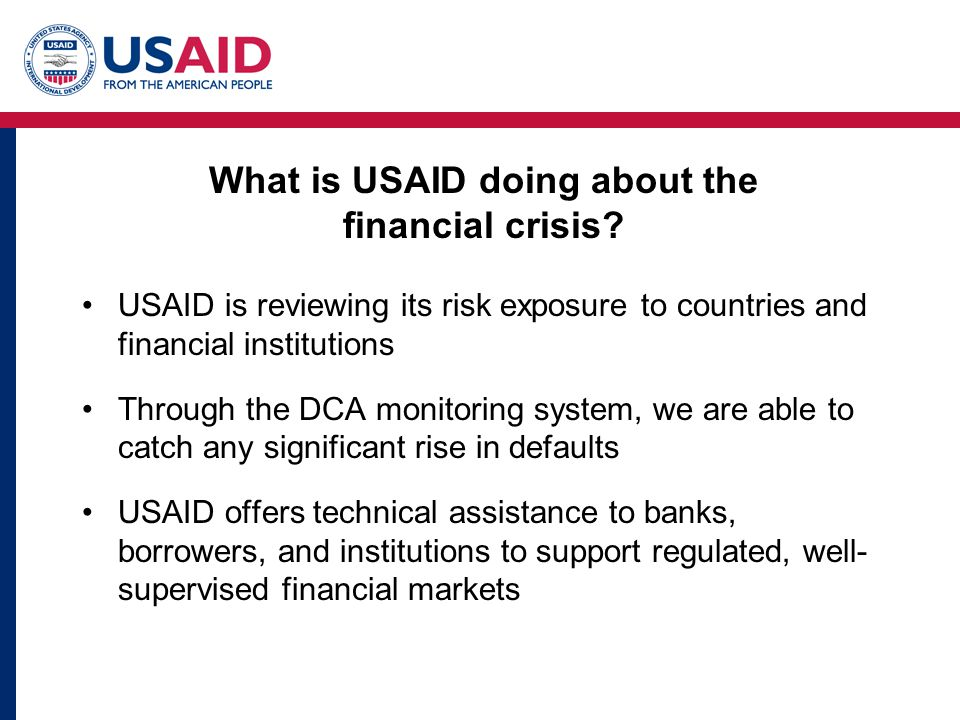 What is USAID doing about the financial crisis.