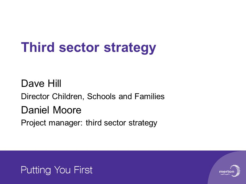 Third sector strategy Dave Hill Director Children, Schools and Families Daniel Moore Project manager: third sector strategy