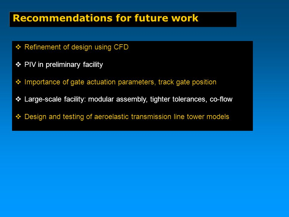 Recommendations for future work  Refinement of design using CFD  PIV in preliminary facility  Importance of gate actuation parameters, track gate position  Large-scale facility: modular assembly, tighter tolerances, co-flow  Design and testing of aeroelastic transmission line tower models