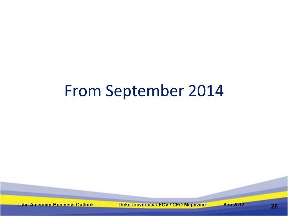 From September 2014 26 Latin American Business Outlook Duke University / FGV / CFO Magazine Sep 2012
