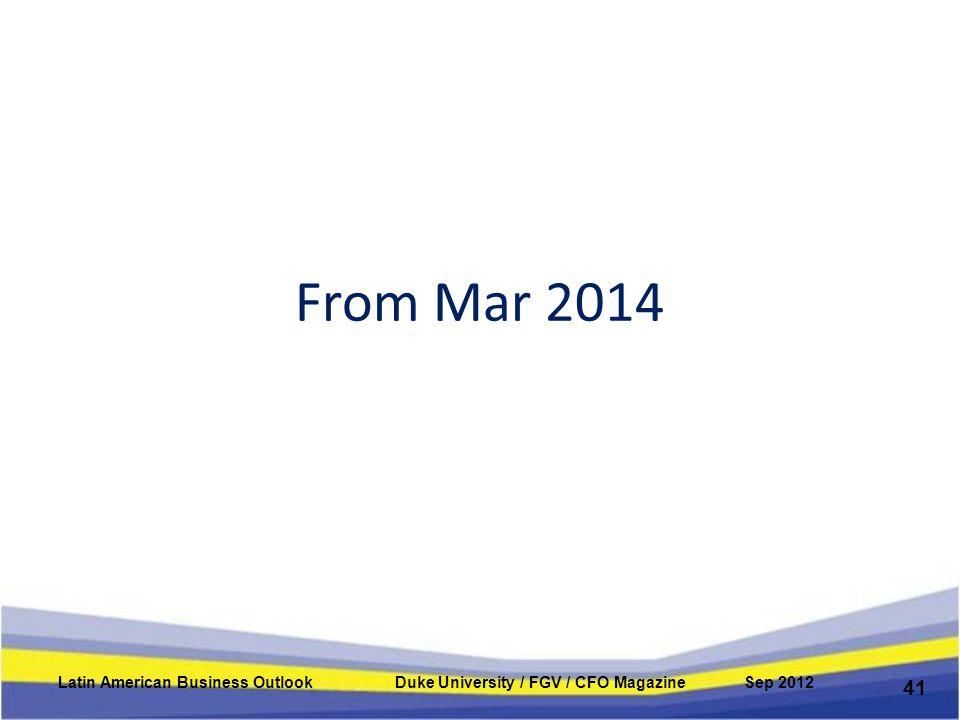 From Mar 2014 41 Latin American Business Outlook Duke University / FGV / CFO Magazine Sep 2012