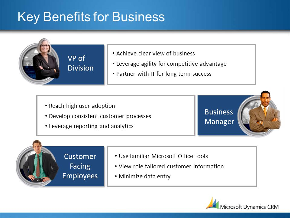 Key Benefits for Business Achieve clear view of business Leverage agility for competitive advantage Partner with IT for long term success Reach high user adoption Develop consistent customer processes Leverage reporting and analytics Use familiar Microsoft Office tools View role-tailored customer information Minimize data entry VP of Division Business Manager Customer Facing Employees