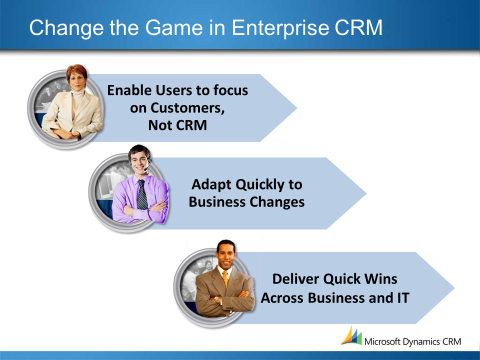 Change the Game in Enterprise CRM Enable Users to focus on Customers, Not CRM Adapt Quickly to Business Changes Deliver Quick Wins Across Business and IT