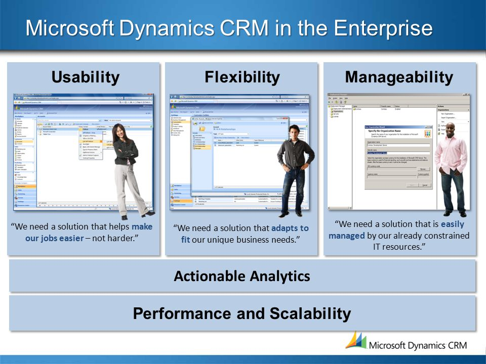 Actionable Analytics Microsoft Dynamics CRM in the Enterprise ManageabilityFlexibilityUsability We need a solution that is easily managed by our already constrained IT resources. We need a solution that adapts to fit our unique business needs. We need a solution that helps make our jobs easier – not harder. Performance and Scalability