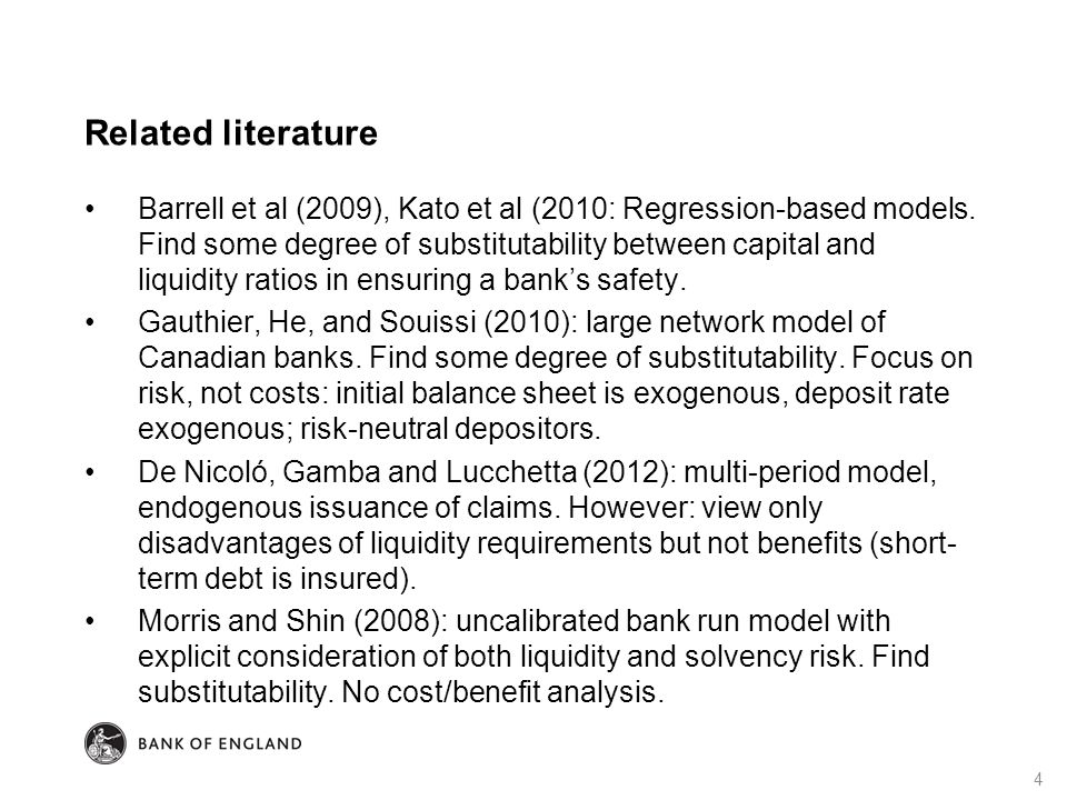 Related literature Barrell et al (2009), Kato et al (2010: Regression-based models. Find some degree of substitutability between capital and liquidity
