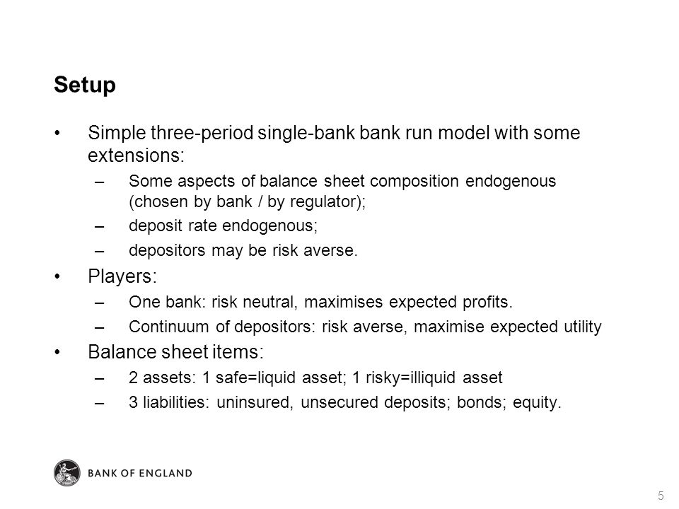 Setup Simple three-period single-bank bank run model with some extensions: –Some aspects of balance sheet composition endogenous (chosen by bank / by regulator); –deposit rate endogenous; –depositors may be risk averse.