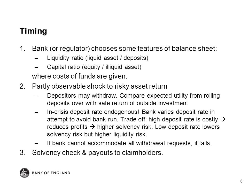 Timing 1.Bank (or regulator) chooses some features of balance sheet: –Liquidity ratio (liquid asset / deposits) –Capital ratio (equity / illiquid asset) where costs of funds are given.