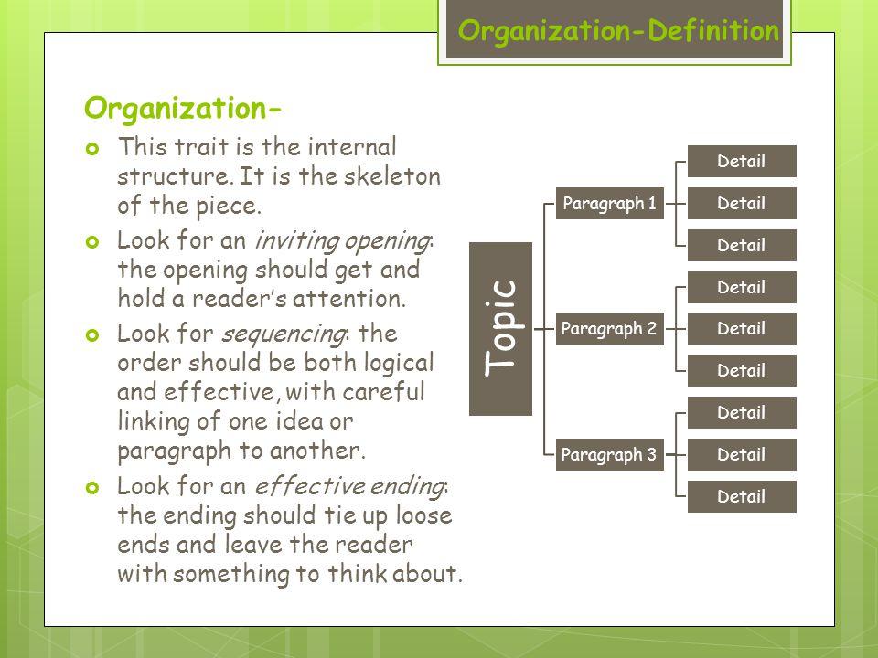 Organization-Definition Organization-  This trait is the internal structure.