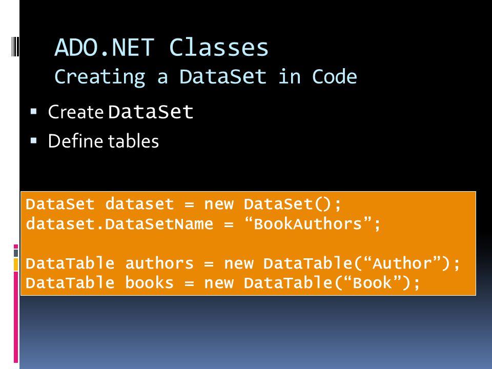 """ADO.NET Classes Creating a DataSet in Code  Create DataSet  Define tables DataSet dataset = new DataSet(); dataset.DataSetName = """"BookAuthors""""; Data"""