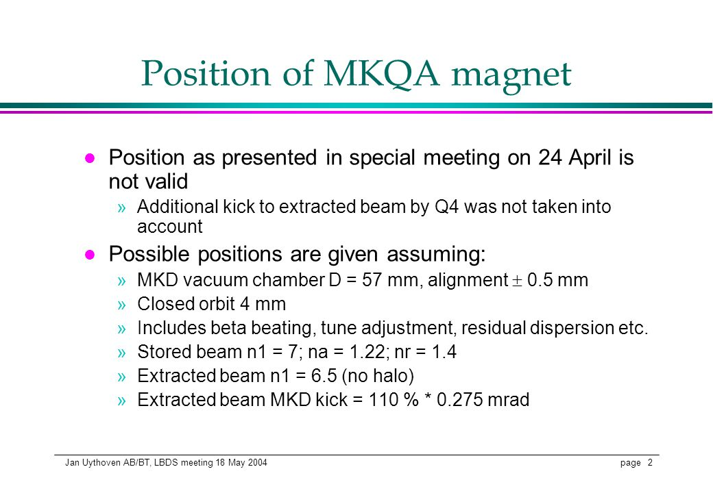 page 2 Jan Uythoven AB/BT, LBDS meeting 18 May 2004 Position of MKQA magnet l Position as presented in special meeting on 24 April is not valid »Addit