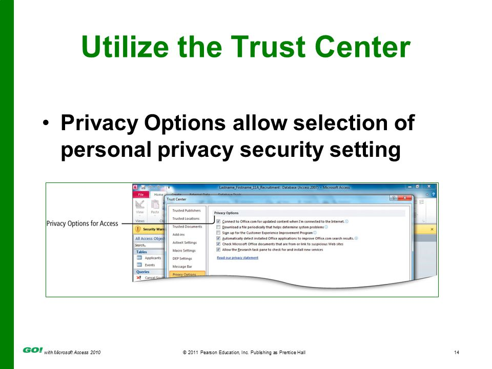 with Microsoft Access 2010© 2011 Pearson Education, Inc. Publishing as Prentice Hall14 Utilize the Trust Center Privacy Options allow selection of per