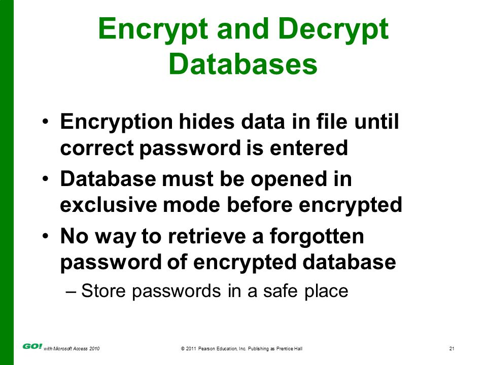 with Microsoft Access 2010© 2011 Pearson Education, Inc. Publishing as Prentice Hall21 Encrypt and Decrypt Databases Encryption hides data in file unt