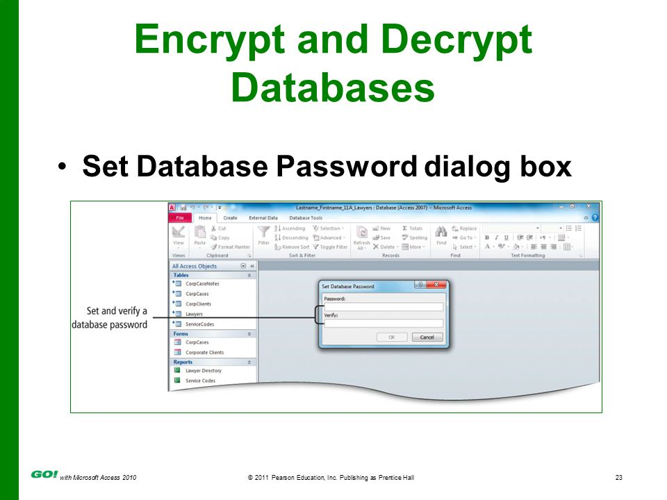 with Microsoft Access 2010© 2011 Pearson Education, Inc. Publishing as Prentice Hall23 Encrypt and Decrypt Databases Set Database Password dialog box