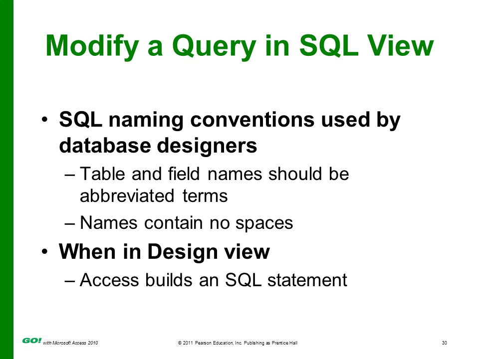 with Microsoft Access 2010© 2011 Pearson Education, Inc. Publishing as Prentice Hall30 Modify a Query in SQL View SQL naming conventions used by datab