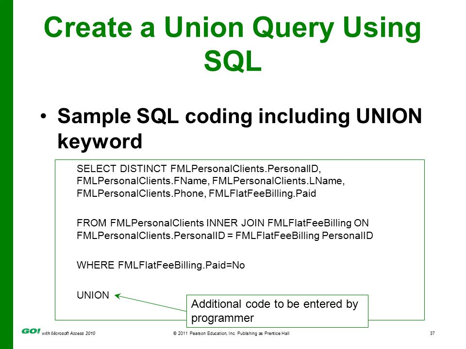 with Microsoft Access 2010© 2011 Pearson Education, Inc. Publishing as Prentice Hall37 Create a Union Query Using SQL Sample SQL coding including UNIO