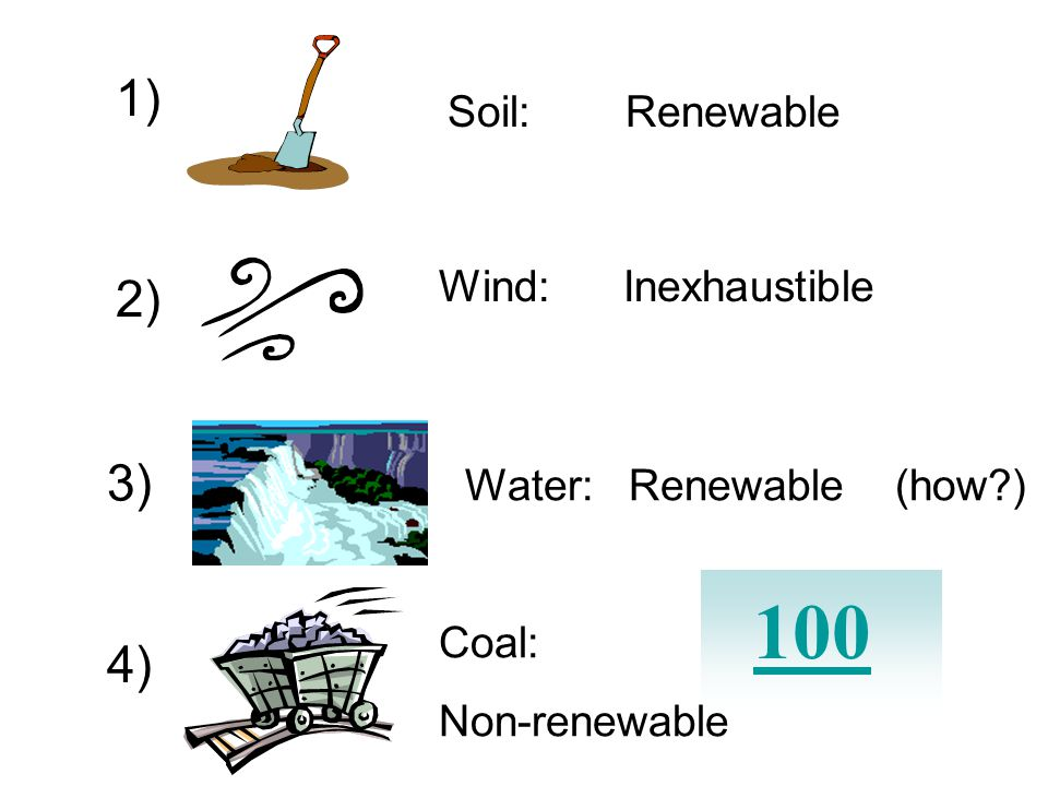 Identify these resources as renewable, non-renewable, or inexhaustible? 1) 3) 2) 4)