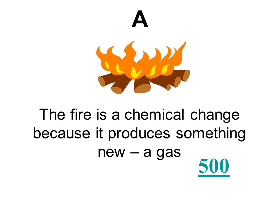 Which of the following is an example of a chemical change? AB CD Salt Sugar