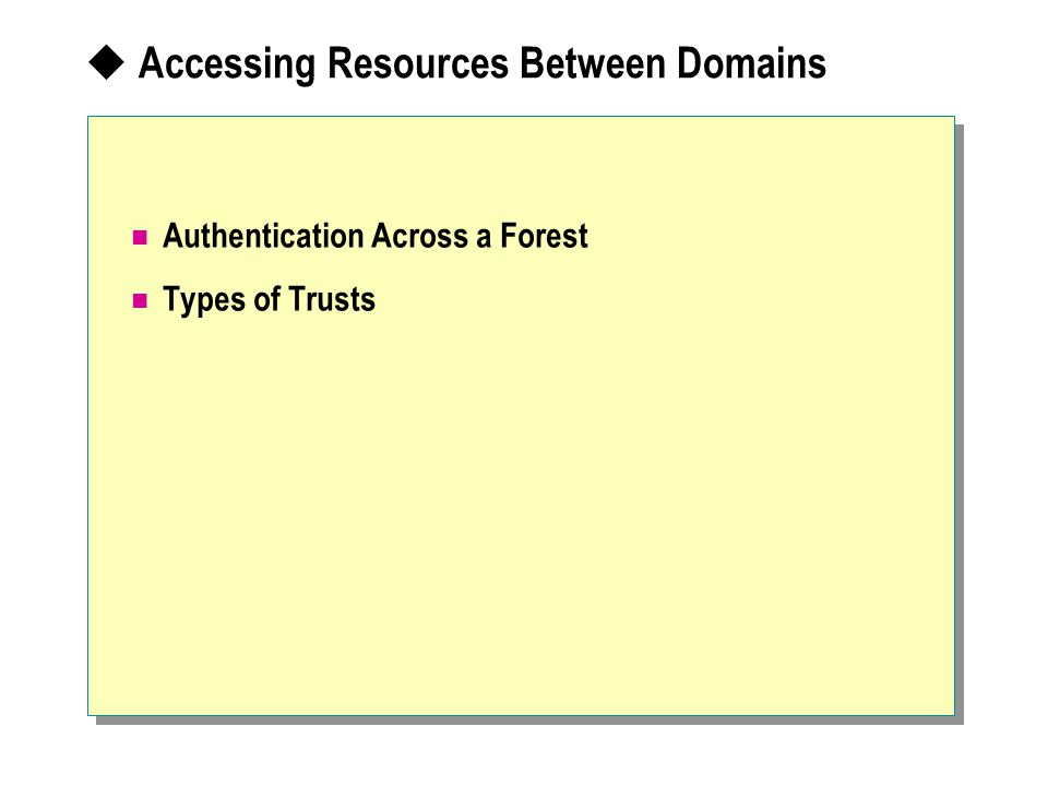  Accessing Resources Between Domains Authentication Across a Forest Types of Trusts