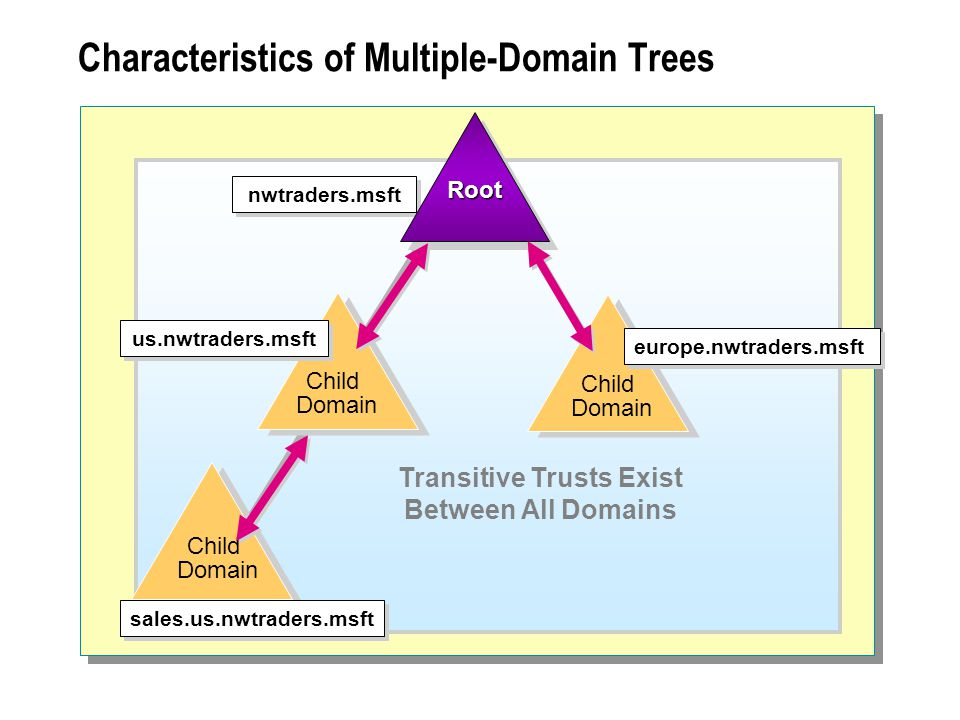 Characteristics of Multiple-Domain Trees Child Domain nwtraders.msft us.nwtraders.msft sales.us.nwtraders.msft Child Domain europe.nwtraders.msft RootRoot Transitive Trusts Exist Between All Domains