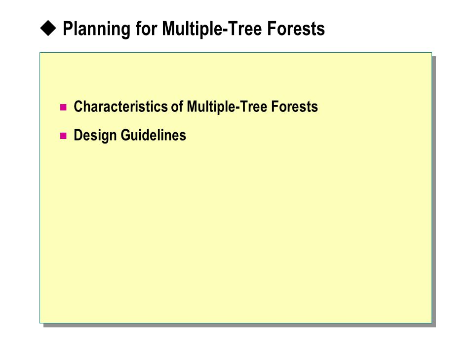  Planning for Multiple-Tree Forests Characteristics of Multiple-Tree Forests Design Guidelines