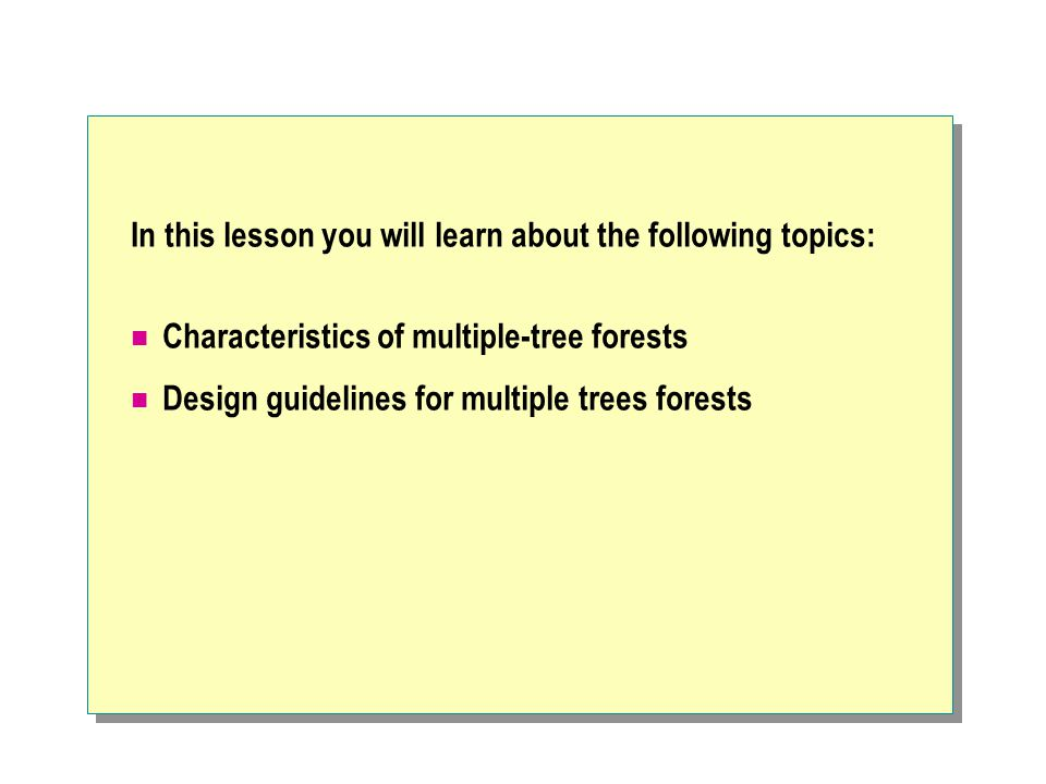 In this lesson you will learn about the following topics: Characteristics of multiple-tree forests Design guidelines for multiple trees forests