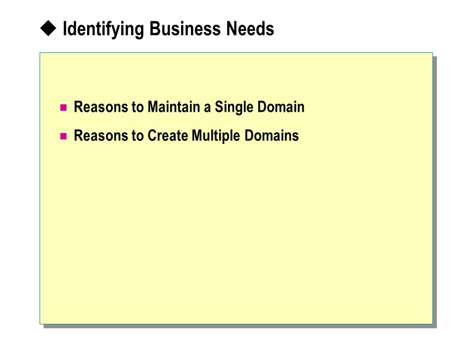  Identifying Business Needs Reasons to Maintain a Single Domain Reasons to Create Multiple Domains