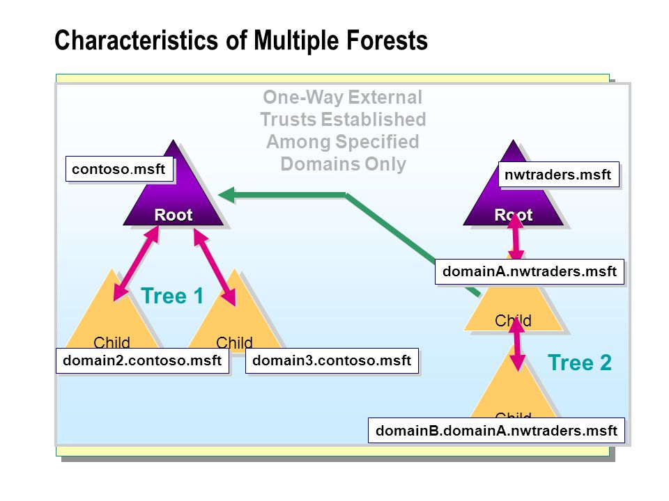 Characteristics of Multiple Forests Tree 1 Tree 2 RootRoot Child RootRoot contoso.msft Child domain3.contoso.msft nwtraders.msft domainB.domainA.nwtraders.msft domain2.contoso.msft One-Way External Trusts Established Among Specified Domains Only domainA.nwtraders.msft