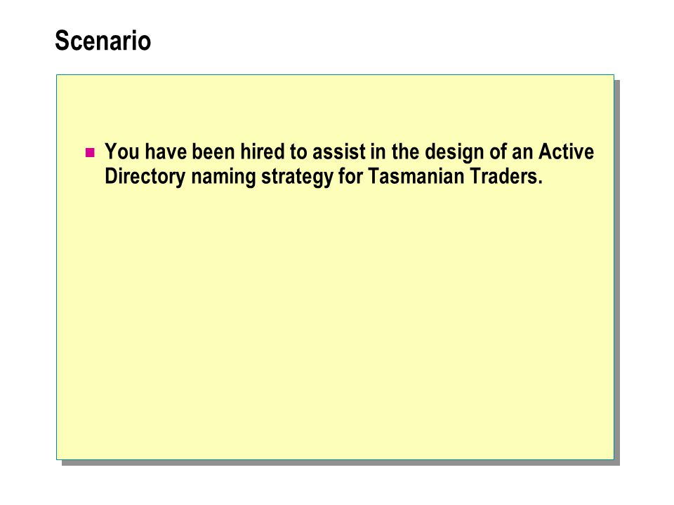 Scenario You have been hired to assist in the design of an Active Directory naming strategy for Tasmanian Traders.
