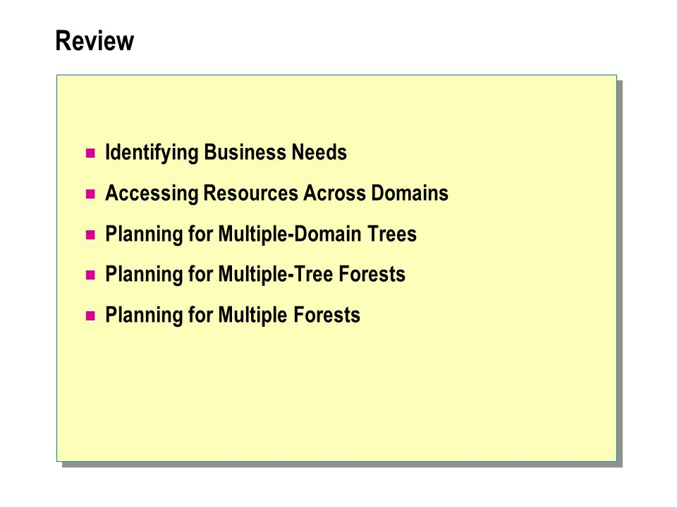 Review Identifying Business Needs Accessing Resources Across Domains Planning for Multiple-Domain Trees Planning for Multiple-Tree Forests Planning fo