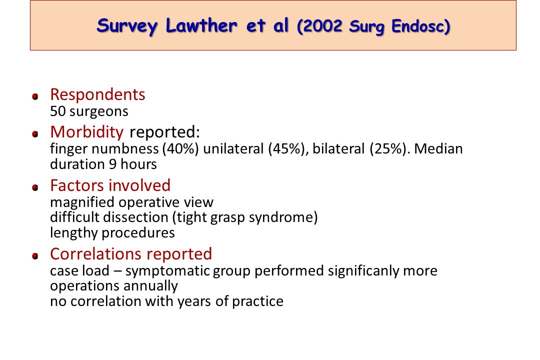 Survey Lawther et al (2002 Surg Endosc) Respondents 50 surgeons Morbidity reported: finger numbness (40%) unilateral (45%), bilateral (25%).