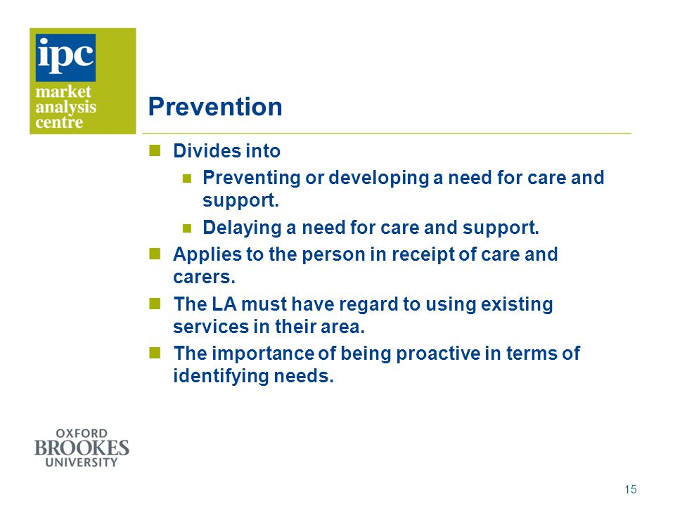 Prevention Divides into Preventing or developing a need for care and support.