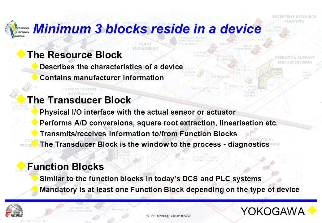 YOKOGAWA FFTechnology/September2000 40 Minimum 3 blocks reside in a device  The Resource Block  Describes the characteristics of a device  Contains